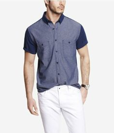 FITTED SHORT SLEEVE COLOR BLOCK SHIRT | Express