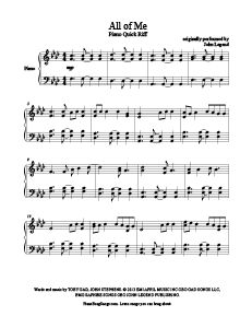 All of Me - John Legend free piano sheet music at www.PianoBragSongs.com.