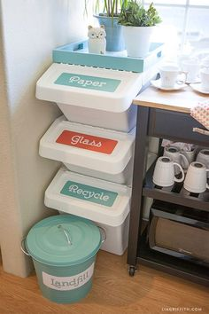 Fun bright labels, a lovely tray, and a vintage-style litter bin seriously minimize the unsightly stack's utilitarian look.