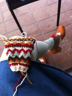 Matching shoes and knitting.