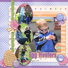 easter layout- love the egg shaped pics