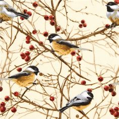 cremefarbener Timeless Treasures Stoff Meise Vogel Baum 1
