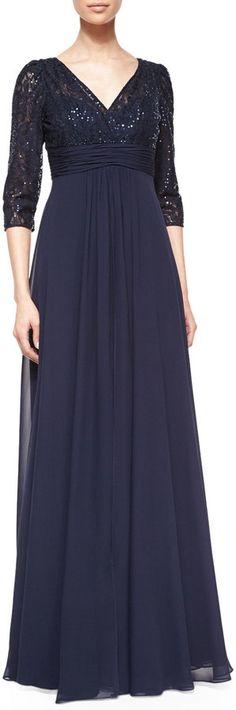 Rickie Freeman for Teri Jon 3/4-Sleeve Lace & Chiffon Empire Gown