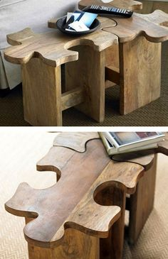 Easiest jigsaw puzzle in the world or genius seating arrangement? The Jigsaw Puzzle Stool by VivaTerra is as much of an enigma as you want it to be. Crafted from sustainably produced, plantation-grown sheesham wood, the stool can be enjoyed on its own or linked with one or more of its brethren to form a bench or a mini-table. I WANT