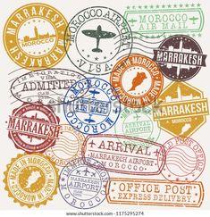Marrakech Morocco Stamp Vector Art Postal Stock Vector (Royalty Free) 1175295274
