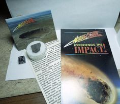 Meteor Crater Collector Set : assortment of items from the gift shop at the world-famous Canyon Diablo meteorite impact crater in the remote Arizona desert. Color brochure, photo magnet, info card, and meteorite specimen. Available at www.galactic-stone.com - #CanyonDiablo #MeteorCrater #meteorite #meteorites #meteor #crater #impact #asteroid #Nininger #Arizona #Tucson #Flagstaff #meteoritics #planetaryscience
