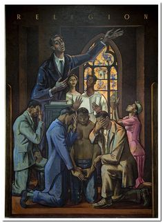 """Mural: """"Religion,"""" by Millard Owen Sheets at the Department of Interior, Washington, D.C."""