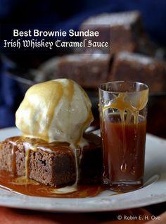 Chocolate Brownies with Irish Whiskey Caramel Sauce... #whiskey #dessert #brownie #BOSlife #BallsofSteel