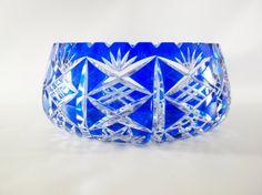 Vintage Large Cobalt Blue Bohemian Cut Crystal Bowl by oldandnew8 #etsyfinds
