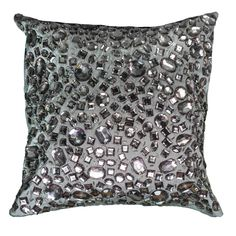 Rizzy Home 12-inch Square Jeweled Decorative Throw Pillow