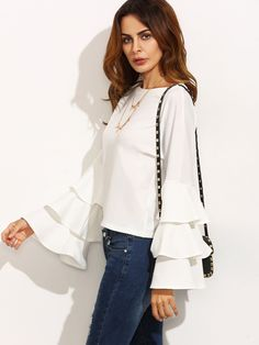 SheIn offers White Round Neck Ruffle Long Sleeve Blouse & more to fit your fashionable needs. Top Chic, Blouse Col V, Long Sleeve Tops, Long Sleeve Shirts, Fashion Clothes, Fashion Outfits, Clothes Women, Fashion Styles, Vogue