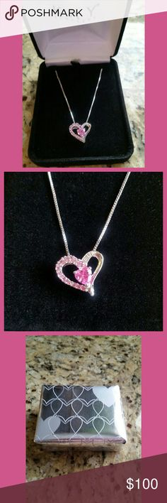 "🆕💗PINK SAPPHIRE HEART NECKLACE💗 💗Kay Jewelry  💗BRAND NEW 💗Stamped 925 sterling silver  💗18"" chain 💗Black necklace box & heart wrapped gift box included🙌👍💗😍💗😚❤✌ KAY JEWELERS  Jewelry Necklaces"