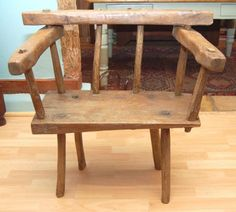 Primitive 19th Century Mixed Wood Windsor Chair
