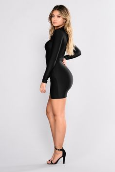 Available In Black, Neon Yellow And Camel Zip Back Mock Neck Tulip Skirt Cut Out Neck Detail Self: Polyester Spandex Lining: Polyester Imported Curve Dresses, Tight Dresses, Sexy Dresses, Rompers Women, Jumpsuits For Women, White Long Sleeve Dress, Dress Black, Belle Silhouette, Short Dresses