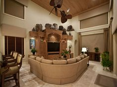 WOW!  REALLY LOVE THE ENDS OF THIS ALL UNIT.  END TABLE STYLE! Entertainment Wall, Dynamic Design, Fireplace Wall, Random House, End Tables, Family Room, House Ideas, Tropical, Walls