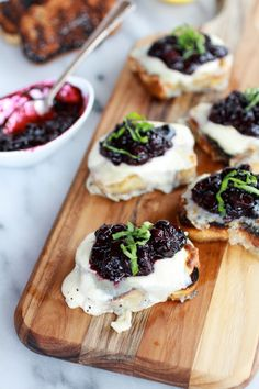 Blueberry Basil Balsamic Mozzarella Crisps Appetizer recipe | halfbakedharvest.com