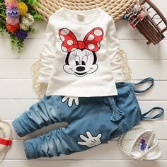 Children-Girls-Baby-Minnie-Mouse-Tops-T-shirt-Denim-Overalls-Pants-2pcs-Outfits