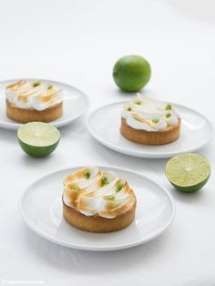 Limettentarte mit Basilikum Rezept Tarte au citron vert basilic Meringue