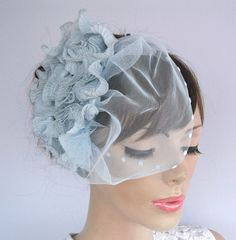 Bridal hair fascinator frilled floral tulle by MammaMiaBridal, $85.00 #weddings #bridal fascinator #tulle cap hat