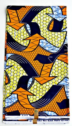 Orange Fabric By The Yard For Sale, African Clothing  Fabric For Sale, Dress Fabric, Brocade Fabric Per Yard, African Ankara Print Fabric