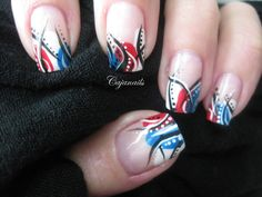 Nail art: 4th of july abstract design by Cajanails Check out the video here-->  http://youtu.be/ssUZon-buD8