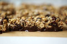 Trail mix bars dipped in dark chocolate