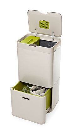 The ability to customize how you use the space in this extra-tall waste-separation unit is what caught our eye. A large top section plus a bottom drawer that can be divided in two make sorting recyclables a cinch. Waste-separation unit from Joseph Joseph.