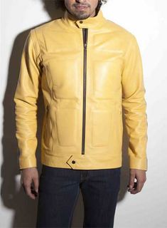 Find the right handcrafted and custom made leather jacket for you at LeatherCult. Get stylish with our men's biker jackets, bomber jackets and more! Mens Leather Coats, Leather Jackets Online, Men's Leather Jacket, Leather Blazer, Bike Suit, Kill Bill, Men's Wardrobe, Yellow Leather, Celebrity Look
