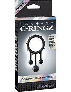 Fantasy C-Ringz - Original Ball Banger - Penisring mit Struktur und 3 Metallkugeln - Durchmesser: 2,8 cm - schwarz