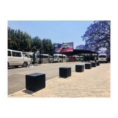 Our very popular rectangular angled benches and external bins, placed in constant to the pattern of the Towers. Our bollards, distinguish the area between the building's walkway and adjacent transport hub