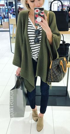 #winter #outfits women's green cardigan. Click To Shop This Look.