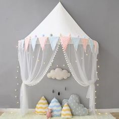 Pastel Circus Tent Canopy with Net, More Colors