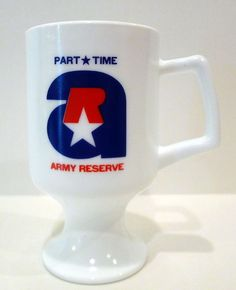 #ArmyReserve Recruiting Full Time Part Time Milk Glass Pedestal Cup