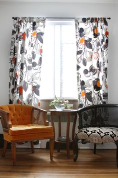 Love these chairs! http://www.designsponge.com/2014/05/best-of-window-treatments.html#more-197050 14Danielle-500x750