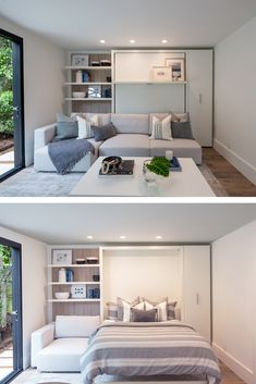 A sofa murphy bed to transform an ADU into a guest house Murphy Bed With Sofa, Modern Murphy Beds, Murphy Bed Plans, Murphy Bes, Office With Murphy Bed, Small Apartments, Small Spaces, Guest Bedroom Office, One Bedroom Flat