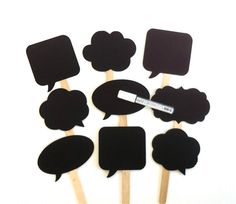 Speech Bubble Chalkboard Photobooth Props with Chalkboard Marker Set of 9 Speech Bubble Props Chalk board Props Set of 9 Wedding Decoration on Etsy, $34.95