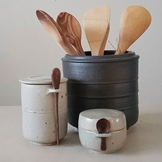 Refined storage pots and more ... #kitchenstuff #tableware #wheelthrown #sugar #salt #herbs #inshopnow #uniquepieces #uniquegift #interior #homedecor #livelifebeautiful #ceramic #ceramics #ceramicstudio #tableware #littlethingsmakesmehappy #spoon #giftinspiration #handmadegifts #pottery #amsterdamstore #homedecor #interior #keramiekatelier #marjokedeheer