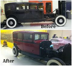 Pierce Arrow before and after our restoration work.