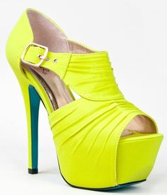 Qupid KOY-17 Pleated Peep Toe Heels Yellow Stretch