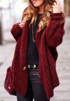 #street #style / oversized burgundy cardigan