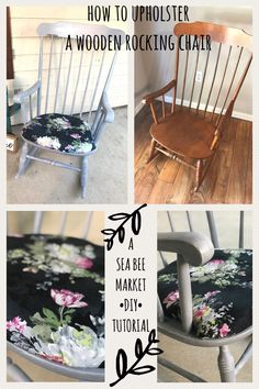 Upholstering a Wooden Rocking Chair — Sea Bee Market DIY! Rocking Chair Bois, Painted Rocking Chairs, Upholstered Rocking Chairs, Rocking Chair Nursery, Rocking Chair Cushions, Diy Chair, Arm Chairs, Dining Chairs, Office Chairs