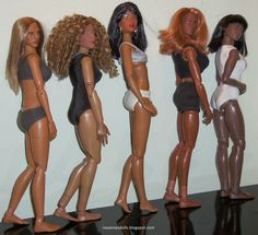 Roxanne's comparison photo of Prettie Girls Lena and some of her action figure ladies.  They are from left to right:  Hot Toys True Type Cuban American, action figure body similar to Takara with Opal head, Lena, BBI Perfect Body, and Triad Alpha African.