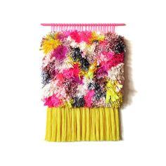 Woven wall hanging / Furry Electric Clementine Fields // Handwoven Tapestry Weaving Fiber Art Textile Wall Art Home Decor  Handmade Jujujust