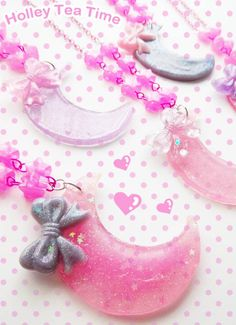 Fairy Crescent Moon Necklace Fairy kei sweet by HolleyTeaTime, $13.00