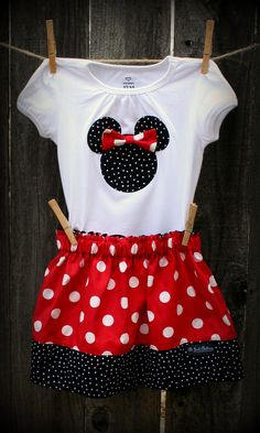 Minni Mouse Inspired Outfit by AliJackClothing, $32.00... Looks kind of like what I created for valentines day with a onesie!