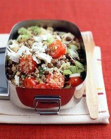 Lentil and bulgar salad (with tomatoes, scallions, lemon juice, olive oil, and feta).