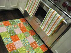 Quilted Kitchen Floor Mat tutorial by So Sue