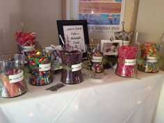 Wedding Candy Bar. I like the tags and bows.