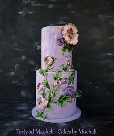 Violet cake - cake by Mischell - CakesDecor Violet Wedding Cakes, Violet Cakes, Purple Cakes, Lilac Wedding, Unique Wedding Cakes, Horse Cake, Rose Tutorial, Floral Cake, Purple Lilac