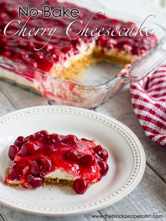 No Bake Cherry Cheesecake Recipe - Easy recipe for classic no bake cherry cheesecake. Graham cracker crust, cream cheese and whipped cream middle layer and cherry pie filling for the topping! No Bake Cherry Cheesecake, Baked Cheesecake Recipe, Unbaked Cheesecake, Whipped Cream Cheesecake, Cherry Cheescake, Healthy Cheesecake, Homemade Cheesecake, Classic Cheesecake, Cheesecake Bites